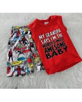 Singlet Boy Set -Red Awesome Son