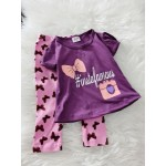 Girl Set-Purple Insta With Pink Ribbon Pant