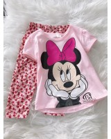 Girl Set- Light Pink Minnie With Pink Flower Pant