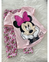 Girl Set- Pink Minnie With Floral Pant