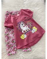 Girl Set- Pink Unicorn With Floral Pant