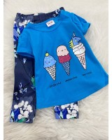Girl Set-Blue Ice Cream With Blue Flower Pant
