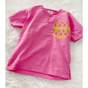 Kurta Cotton With Linen-Pink With Chest printed pocket