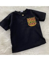 Kurta Cotton With Linen-Black With Chest printed pocket