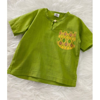 Kurta Cotton With Linen-Lemon Green With Chest printed pocket