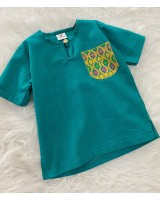 Kurta Cotton With Linen-Leaf Green With Chest printed pocket