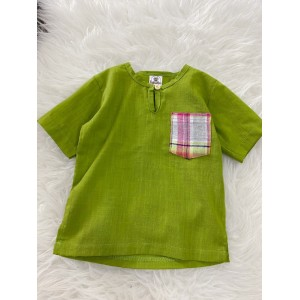 Kurta Cotton With Linen-Lemon Green With Checker Chest Pocket