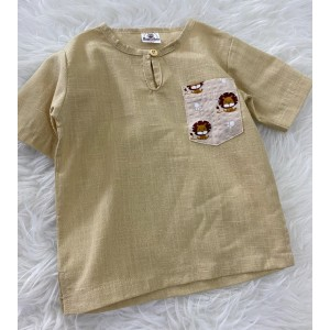 Kurta Cotton With Linen-Light Khaki With Simba Chest Pocket