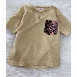 Kurta Cotton With Linen-Light Khaki With Batik Chest Pocket