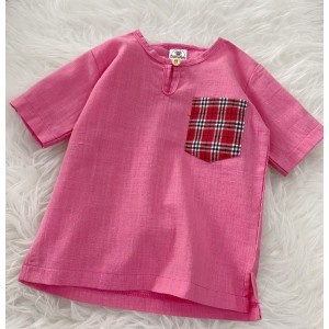 Kurta Cotton With Linen-Pink With Red Checker Chest Pocket