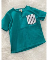 Kurta Cotton With Linen-Green With Stripe Chest Pocket