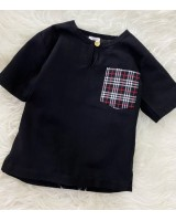 Kurta Cotton With Linen-Black With Checker Chest Pocket