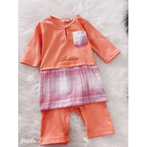 Jumper Melayu Sampin -Orange With Samping Pink Checker