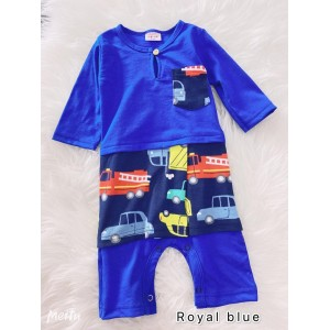 Jumper Melayu Sampin -Royal Blue With Vehicle Samping
