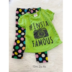Girl Set-Green Insta With Polkadot Pant