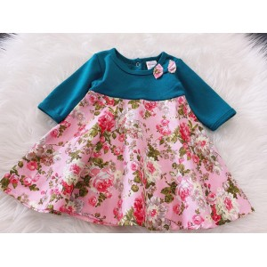 #1536 BABY KURUNG DRESS ~ Turq Green With Pink Rose
