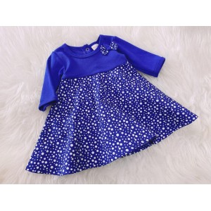 #1536 BABY KURUNG DRESS ~ Royal Blue With White Dot