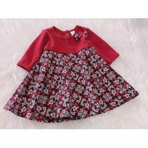 #1536 BABY KURUNG DRESS -Red Black Rose
