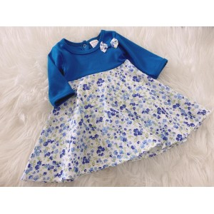 #1536 BABY KURUNG DRESS -Blue Little Floral