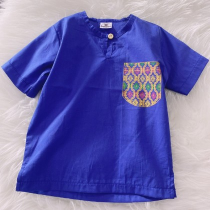 Kurta England Cotton-Indigo With Batik Printed Pocket