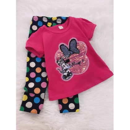 Girl Set -Sequeen Pink Minnie With Rainbow Polkadot Pant