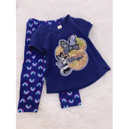 Girl Set -Sequeen Blue Minnie With Rainbow Pant