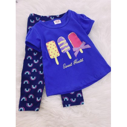 Girl Set-Blue Ice Cream With Navy Rainbow Pant