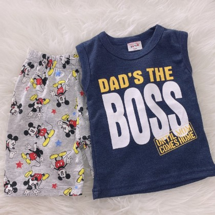 Singlet Boy Set -Grey Dad The Boss With Mickey Pant