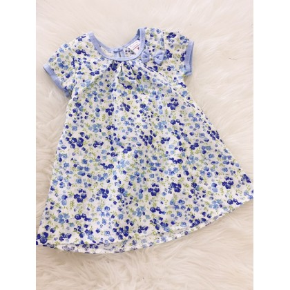#1531 Baby Dress -Blue With Blue Little Floral