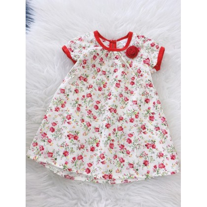 #1531 Baby Dress -Cream With Red Little Floral