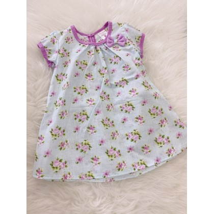 #1531 Baby Dress -Blue With Purple Flower