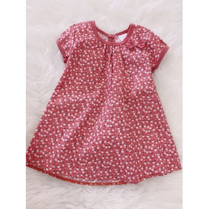 #1531 Baby Dress -Coral With White Little Floral