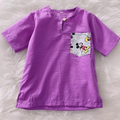 Kurta English Cotton -Orchid With Mickey Chest Pocket