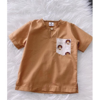 Kurta English Cotton -Camel With Simba Chest Pocket