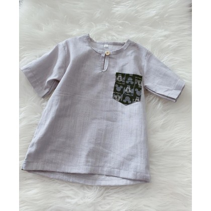Kurta Cotton With Linen -Grey  with micket pocket