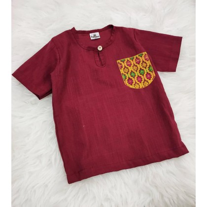 Kurta Cotton With Linen -BURGUNDRY WITH PRINTED POCKET
