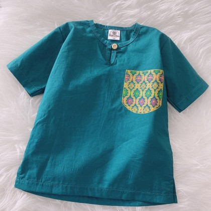 Kurta Cotton With Linen -GREEN WITH PRINTED POCKET
