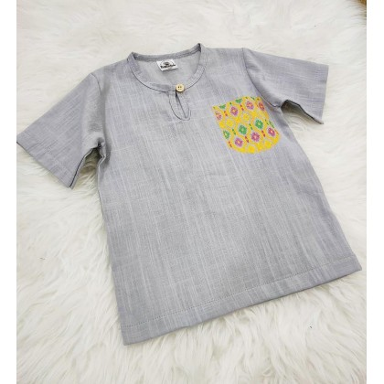 Kurta Cotton With Linen -LT GREY WITH PRINTED POCKET