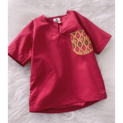 Kurta Cotton With Linen -RED WITH PRINTED POCKET