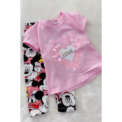 Girl Set-520 PINK SEQUEEN WITH MINNIE PANT