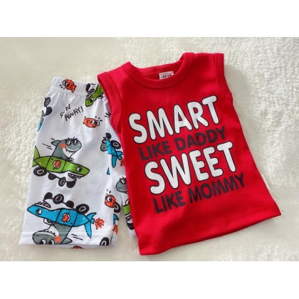 Singlet Boy Set - 522 red smart