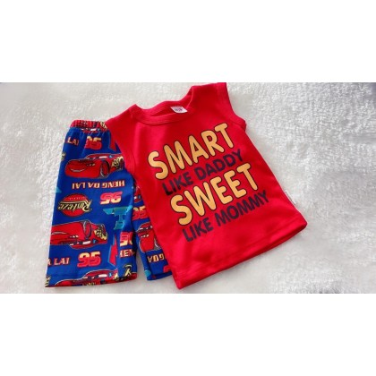 Singlet Boy Set - 522-red smart cars
