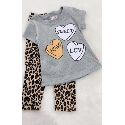 Girl Set-306 Grey Love With Leopard Pant