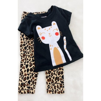 Girl Set-306 Black Cat With Leopard Pant