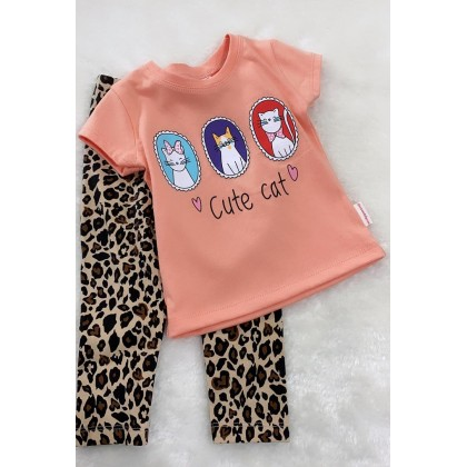 Girl Set-306 Peach Cute Cat With Leopard Pant