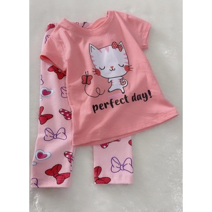 Girl Set-027 Pink Perfect Day With Ribbon Pant