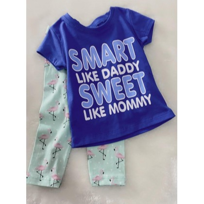 Girl Set-027 Blue Smart With Green Pant