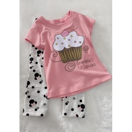 Girl Set-027 Peach Cupcake With Grey Pant
