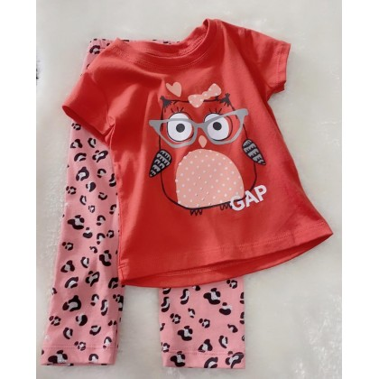 Girl Set-027 Orange Owl With Leopard Pant