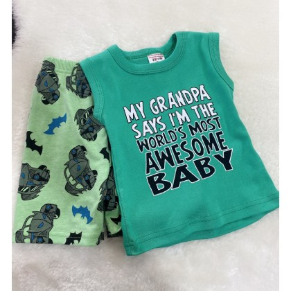 Singlet Boy Set - 724 Green Awesome Baby